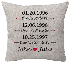 Wedding Pillow Dates On Top
