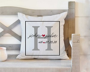 Wedding Pillow With Initial